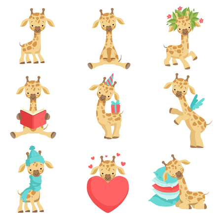 Cute little giraffe set, funny jungle animal cartoon character in different situations vector Illustration isolated on a white background. Иллюстрация