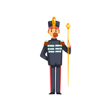 Soldier musical conductor with vestibule, member of army military band vector Illustration isolated on a white background.