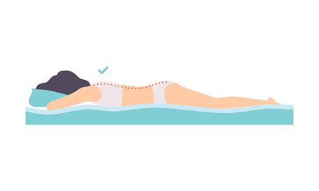 Woman lying on her stomach, correct sleeping posture for neck and spine, healthy sleeping position, orthopedic mattress and pillow vector Illustration isolated on a white background. Standard-Bild - 126852334