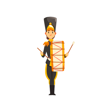 Soldier in black uniform with drum, member of army military band with musical instrument vector Illustration isolated on a white background.