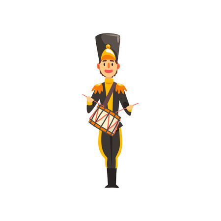 Soldier in black uniform playing drum, member of army military band with musical instrument vector Illustration isolated on a white background. Ilustração