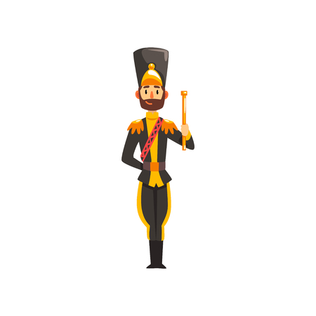 Soldier musical conductor with vestibule, member of army military band in black uniform vector Illustration isolated on a white background. Illusztráció