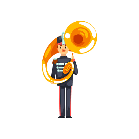 Soldier playing tuba, member of army military band with musical instrument vector Illustration isolated on a white background.