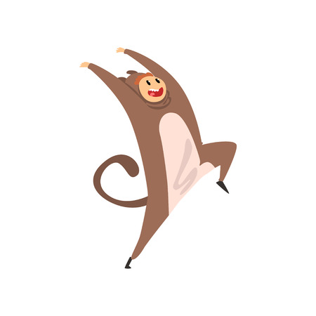 Smiling man wearing monkey costume, person in jumpsuit or kigurumi having fun vector Illustration isolated on a white background.