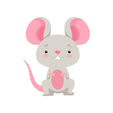 Cute mouse, funny animal cartoon character vector Illustration isolated on a white background.