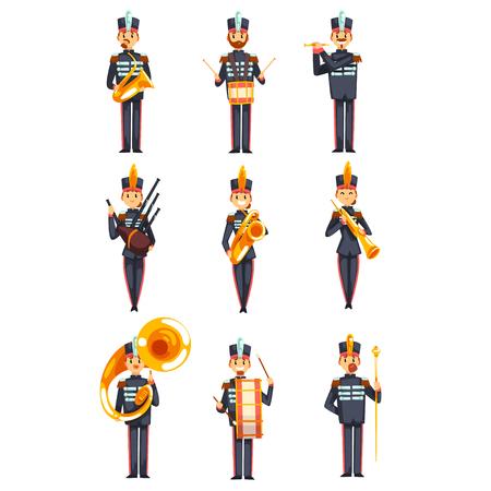 Soldaten spielen Musikinstrumente Set, Mitglieder der Armee Militärkapelle in blauer einheitlicher Vektor Illustration isoliert auf weißem Hintergrund.