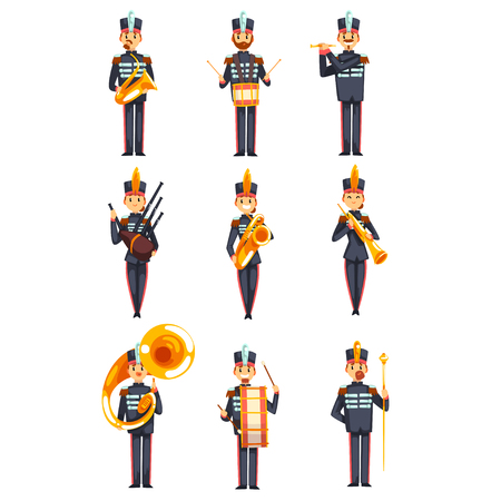 Soldiers playing musical instruments set, members of army military band in blue uniform vector Illustration isolated on a white background.