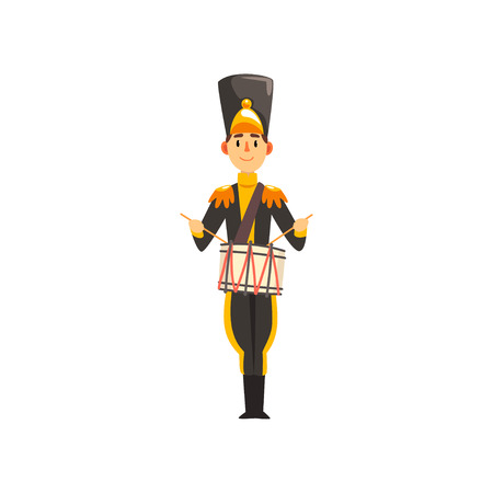 Soldier in black uniform playing drummer, member of army military band with musical instrument vector Illustration isolated on a white background. Ilustração