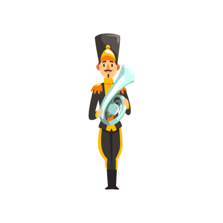 Soldier in black uniform playing french horn, member of army military band with musical instrument vector Illustration isolated on a white background.