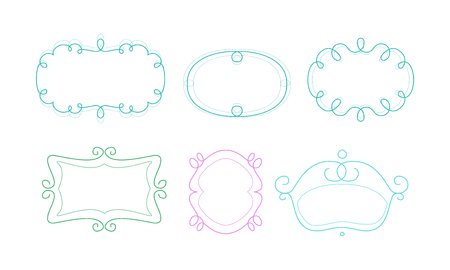 Decorative frames with space for text, design elements can be used for banner, picture, photo, greeting card, wedding invitation vector Illustration isolated on a white background. Ilustração