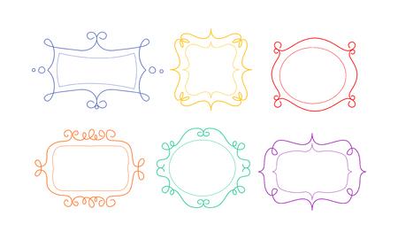 Cornici decorative di diverse forme con spazio per testo, elementi di design possono essere utilizzati per banner, foto, foto, biglietti di auguri, invito a nozze vettoriale illustrazione isolato su sfondo bianco. Vettoriali