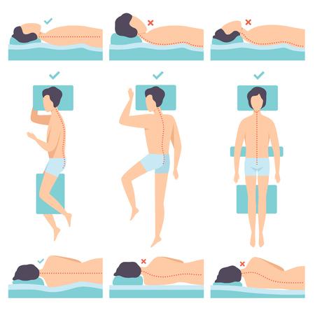 Uomo che si trova in varie pose insieme, vista laterale, postura corretta e errata del sonno per collo e colonna vertebrale, vettore di posizione di sonno sano illustrazione isolato su sfondo bianco.