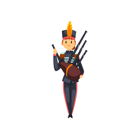Soldier playing bagpipes, member of army military band with musical instrument vector Illustration isolated on a white background. Vettoriali