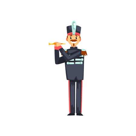 Soldier playing flute, member of army military band with musical instrument vector Illustration isolated on a white background. Ilustração