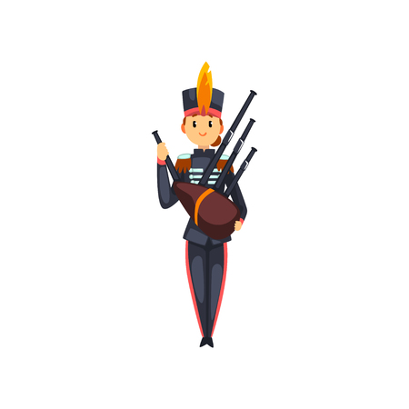 Soldier playing bagpipes, member of army military band with musical instrument vector Illustration isolated on a white background. Illustration
