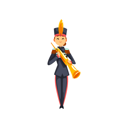 Soldier playing brass wind musical instrument, member of army military band with musical instrument vector Illustration isolated on a white background.