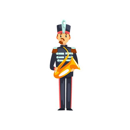 Soldier with trumpet, member of army military band with musical instrument vector Illustration isolated on a white background.