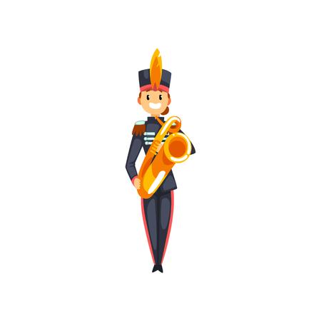 Soldado tocando la trompeta, miembro de la banda militar del ejército con vector de instrumento musical ilustración aislada sobre fondo blanco.