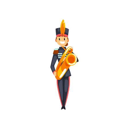 Soldier playing trumpet, member of army military band with musical instrument vector Illustration isolated on a white background.