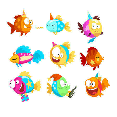 Funny fishes set, little colorful sea creatures characters, marine theme design elements can be used for kids party invitation, greeting card vector Illustration isolated on a white background.