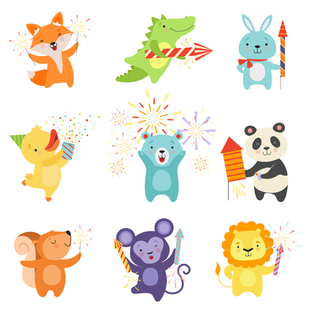 Cute animals with party poppers set, lovely cartoon animal characters celebrating, design template can be used for New Year or Christmas, Birthday card, banner, poster, holiday decoration vector Illustration isolated on a white background. Stock Vector - 126818518