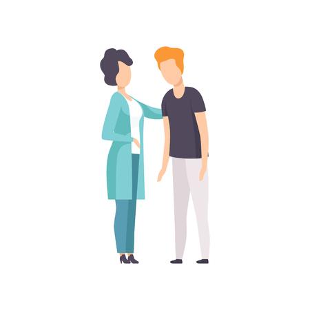 Psychiater beruhigt Mann, der an Angstzuständen, psychischen Störungen, psychiatrischen oder psychologischen Problemen leidet Vektor-Illustration isoliert auf weißem Hintergrund.