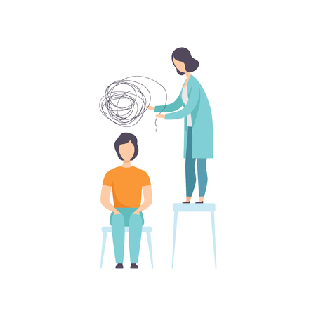 Man suffering from mental disorder, psychiatrist treating patients on behavioral or mental health problems vector Illustration isolated on a white background.