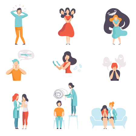 Conjunto de personas que sufren de trastornos mentales, psicoterapeutas que tratan a pacientes con problemas de salud mental o de comportamiento vector ilustración aislada sobre fondo blanco. Ilustración de vector