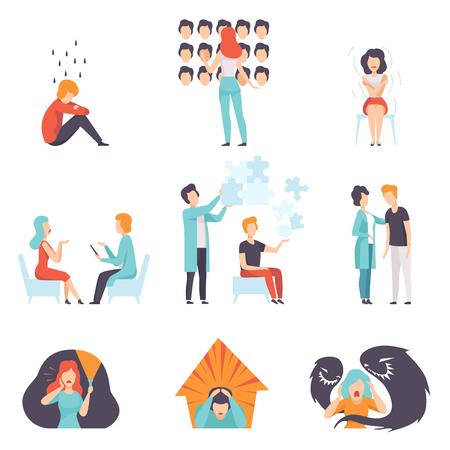 Conjunto de personas que sufren de trastornos mentales, psicoterapeutas que tratan a pacientes, problemas de salud mental vector ilustración aislada sobre fondo blanco.