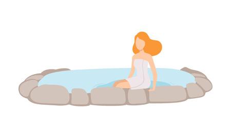 Junge Frau in einem Handtuch genießen Thermalquelle im Freien, Spa-Verfahren Vektor Illustration isoliert auf weißem Hintergrund.
