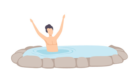 Man relaxing in outdoor thermal spring, guy enjoying hot water in bath tub, spa procedure vector Illustration isolated on a white background.
