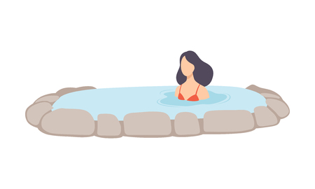 Young brunette woman enjoying outdoor thermal spring, girl relaxing in hot water in bath tub vector Illustration isolated on a white background.