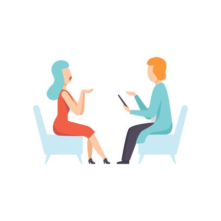 Psychologe, die Frau mit psychologischen Problemen, Psychotherapie, Geistesstörungsvektorillustration berät, die auf einem weißen Hintergrund lokalisiert wird. Vektorgrafik