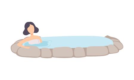 Mädchen genießen Thermalquelle im Freien, junge brünette Frau, die sich in heißem Wasser in der Badewanne entspannt, Vektor-Illustration isoliert auf weißem Hintergrund. Vektorgrafik