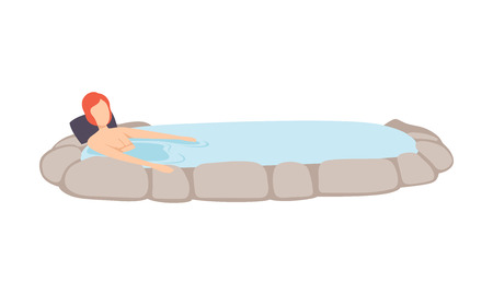 Young man enjoying outdoor thermal spring, guy relaxing in hot water in bath tub vector Illustration isolated on a white background.