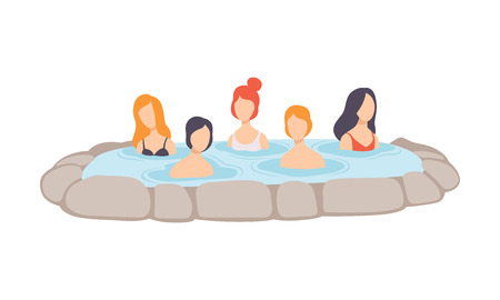 People enjoying outdoor thermal spring, men and women relaxing in hot water in bath tub vector Illustration isolated on a white background.