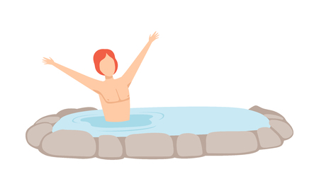 Young man enjoying hot water in outdoor thermal spring, spa procedure vector Illustration isolated on a white background.
