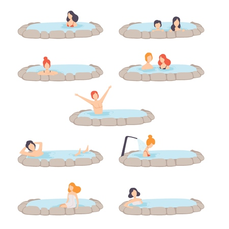 People enjoying outdoor thermal spring set, men and women relaxing in hot water in bath tub vector Illustration isolated on a white background.