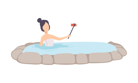 Girl taking selfie while enjoying outdoor thermal spring, young woman relaxing in hot water in bath tub vector Illustration isolated on a white background. Çizim