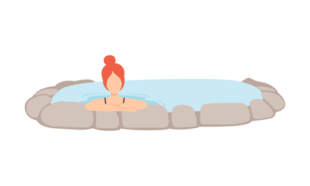 Girl relaxing in hot outdoor thermal spring, young woman enjoying hot water in bath tub vector Illustration isolated on a white background. Çizim