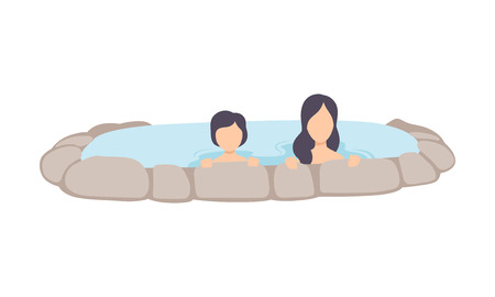 Young woman and kid enjoying outdoor thermal spring, mother and her child relaxing in hot water in bath tub vector Illustration isolated on a white background.
