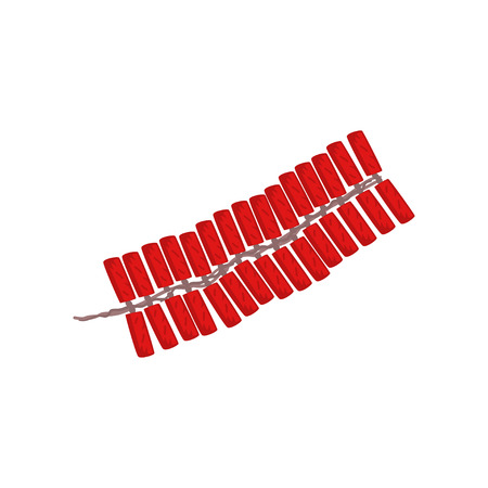 Firecrackers, Chinese New Year symbol vector Illustration isolated on a white background.