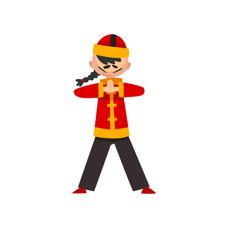 Boy in traditional Chinese costume showing martial arts vector Illustration isolated on a white background.