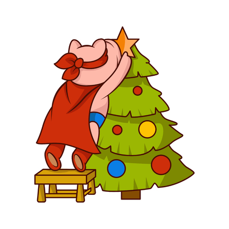 Pig dressed as superhero, standing on chair and decorating Christmas tree. Humanized animal. Cartoon vector design