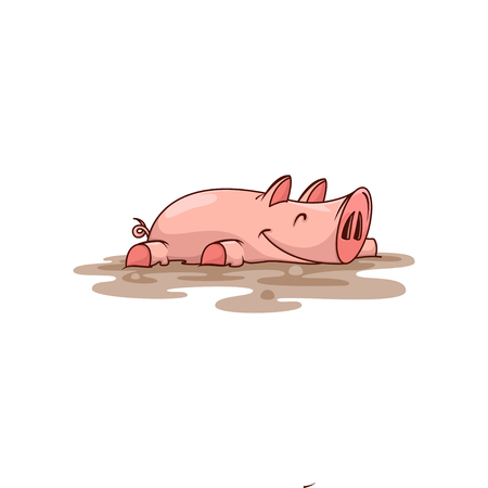Happy pink pig lying in dirt. Farm animal. Domestic creature. Cartoon character with contented muzzle. Graphic element for children book. Colorful vector illustration isolated on white background.