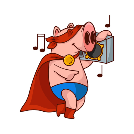 Cheerful pig superhero listening music with tape recorder. Funny humanized animal. Cartoon character. Vector design