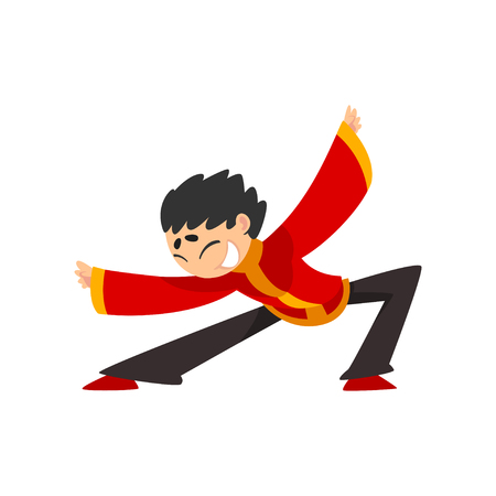 Boy in red traditional Chinese costume showing martial arts or dance vector Illustration isolated on a white background.