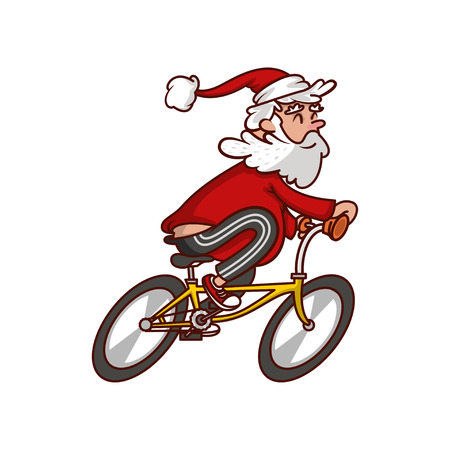 Fat Santa Claus riding bicycle. Old smiling man enjoying cycling. Funny cartoon character. Healthy lifestyle. Sports theme. Graphic element for poster. Vector illustration isolated on white background