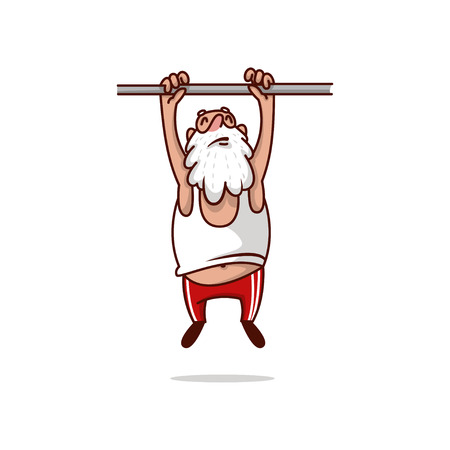Fat Santa Claus hanging on crossbar and trying to pulling up. Old man with gray beard. Physical activity. Cartoon character. Sports theme. Colorful vector illustration isolated on white background.