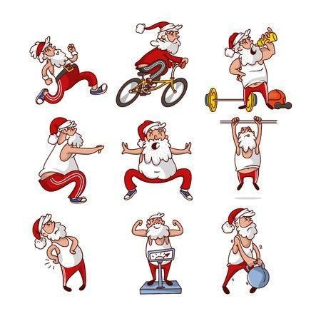 Ensemble de gros Père Noël dans différentes actions. Le vieil homme fait du sport. Mode de vie sain. Activité physique. Personnage de dessin animé drôle avec barbe. Illustrations vectorielles colorées isolées sur fond blanc